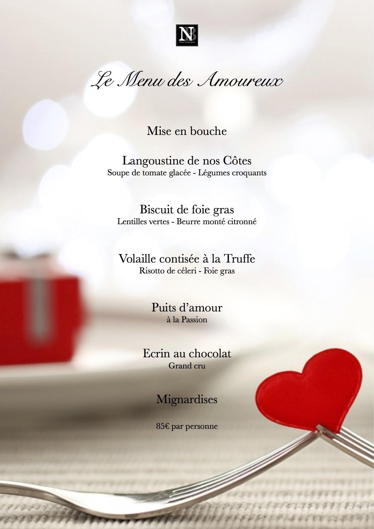 menu la Saint Valentin